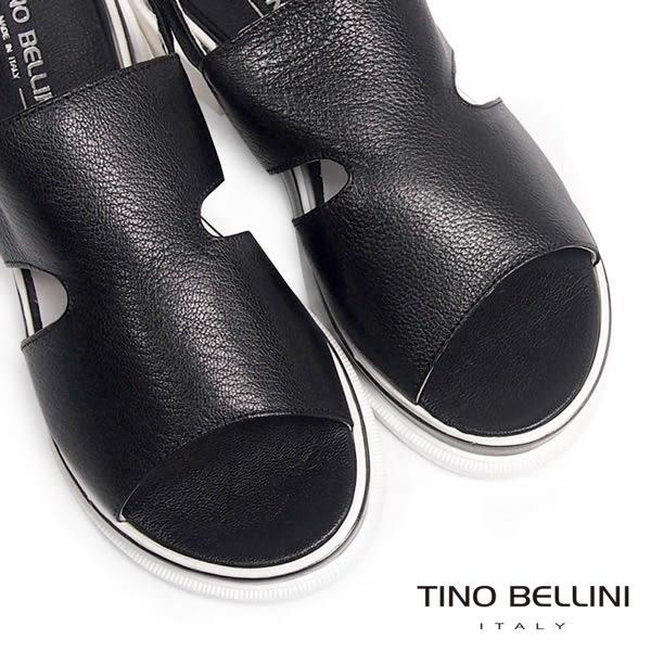 Tino Bellini 義大利進口潮流態度休閒真皮厚底涼鞋(黑)_A63059  2016SS歐洲進口款