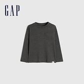 Gap男幼童 活力亮色圓領休閒長袖T恤 577619-深灰色