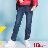JJLKIDS 女童 口袋立體蝴蝶結內刷毛牛仔褲(牛仔藍)