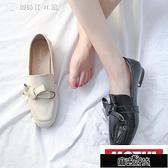 小皮鞋女夏百搭正韓淺口春季單鞋一腳蹬樂福鞋英倫風女鞋KLBH48565【全館免運】