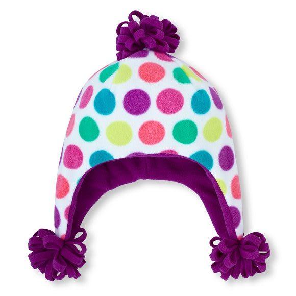 Place帽子  彩色圓點圖案刷毛帽子