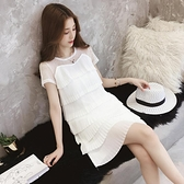 白色洋裝 2020夏季短袖上衣中長款包臀小衫潮胖mm法式寬鬆小眾雪紡洋裝女