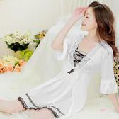001#性感睡衣吊帶女蕾絲睡袍長袖冰絲兩件套裝睡裙家居服套裝『夢娜麗莎精品館』