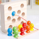 益智玩具兒童小貓釣魚玩具女孩一歲半寶寶木質釣魚磁性1-2-3周歲益智男孩【父親節好康八八折】