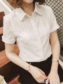 襯衫 白色襯衫女短袖春裝襯衣女士職業裝工作服夏季雪紡衫上衣 傾城小鋪
