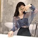 透視上衣 襯衫女設計感小眾心機洋氣上衣2020新款韓版時尚性感透視防曬小衫-Ballet朵朵