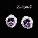 【La Finia】 小圓舞曲水晶耳環(紫羅蘭)