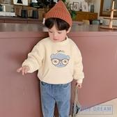 兒童連帽T童裝男童加絨連帽T恤2020冬裝新款兒童卡通印花套頭衫兒童潮衣 HD