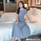 小清新polo領襯衫裙女中長款收腰顯瘦氣...