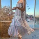 涼感一字領洋裝 夏裝新款法式氣質彩虹吊帶裙彈力雪紡荷葉邊露肩連衣裙-快速出貨