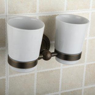 陶瓷刷牙杯套杯 古銅