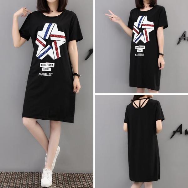 L-4XL胖妹妹大碼洋裝連身裙~大碼胖妹妹t恤女裝連身裙3F061A衣時尚