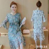 孕婦長裙 夏秋孕婦洋裝短袖上衣2018新款雪紡孕婦裙 BF7906『寶貝兒童裝』