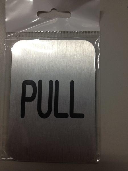 高級鋁質標示貼牌 方形【PULL】 規格10CMX7CM [#50]
