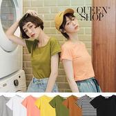 Queen Shop【01037905】圓領素面合身短版T 八色售*現+預*