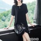 大碼洋裝胖mm大碼女裝夏季高端連身裙新款夏裝寬鬆顯瘦洋氣黑色裙子 快速出貨