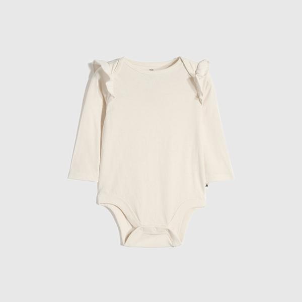 Gap嬰兒 棉質舒適純色長袖包屁衣 663821-象牙白