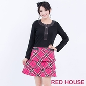 【RED HOUSE-蕾赫斯】星星拉鍊假格紋洋裝(桃紅色) 滿1111折211