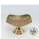 印度彩繪高腳小銅盤(12公分) 【 十方佛教文物】