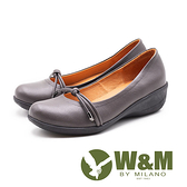 W&M 真皮 繩結坡跟楔型鞋 女鞋-灰(另有黑)
