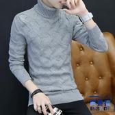 高領毛衣男韓版修身翻領純色針織衫打底加厚毛衫【英賽德3C數碼館】