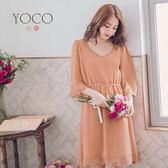 東京著衣【YOCO】輕質感微甜V領釘珠花瓣下擺流蘇綁帶洋裝-S.M.L(180113)