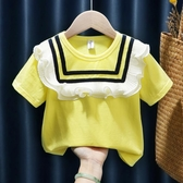 女童T恤2020夏裝新款花邊圓領短袖上衣兒童3-5寶寶歲套頭打底衫潮 小艾時尚