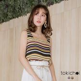 東京著衣-tokichoi-繽紛撞色條紋無袖U領上衣-S.M.L(190364)
