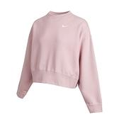 Nike AS W NSW Crew Flc Trend 女 藕粉 小勾 刺繡 落肩 寬版 長袖 CK0169-645