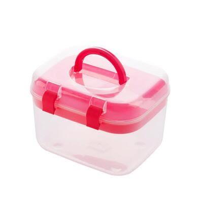 居家家 塑料透明藥品收納箱小號急救箱 家庭醫藥(小號紅色 兩個裝)-炫彩店