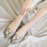 amai微奢華珍珠水鑽霧面尖頭鞋 灰