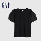 Gap 女裝 甜美風格泡泡袖休閒短袖T恤 577527-純正黑色