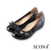 SCONA 全真皮 輕盈舒適鑽飾楔型鞋 黑色 22733-1