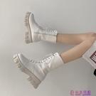 學院英倫風機車靴新款復古百搭厚底增高馬丁...