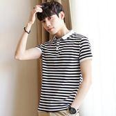 男短袖POLO衫新款條紋 韓版修身純棉翻領T恤《印象精品》t890
