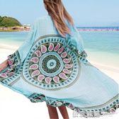 新款人棉定印花寬鬆大碼長款開衫比基尼罩衫沙灘防曬衣泳衣外套女  依夏嚴選