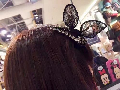 【NiNi Me】韓系髮飾 甜美氣質水鑽蕾絲兔耳朵林志玲同款BB夾髮夾 髮夾H9340