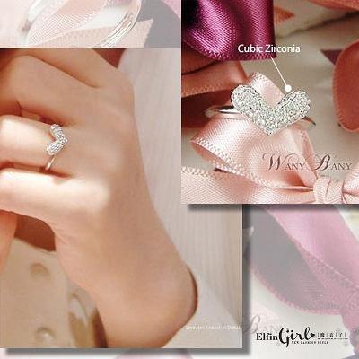 【Q10A58】魔衣子-閃亮滿鑽愛心造型可調式戒指