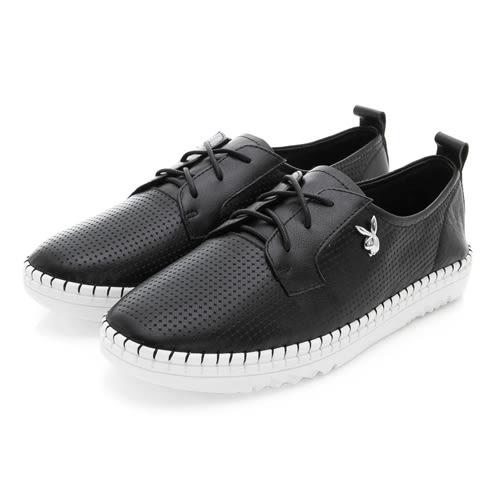 PLAYBOY BASIC ICON 真皮綁帶休閒鞋-黑