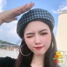 貝雷帽薄款英倫復古畫家八角帽子韓版日系格子【樂淘淘】