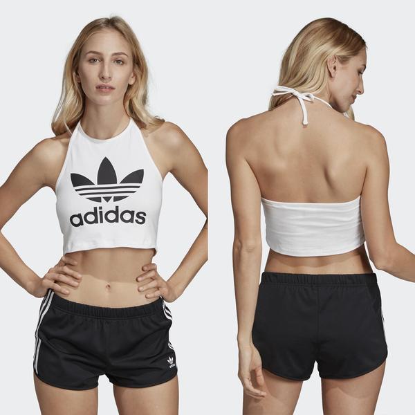 【GT】Adidas 黑白 無袖T恤 女款 短版 綁帶 露肩 露背 背心 運動 休閒 彈性 愛迪達 三葉草 Logo DV2561