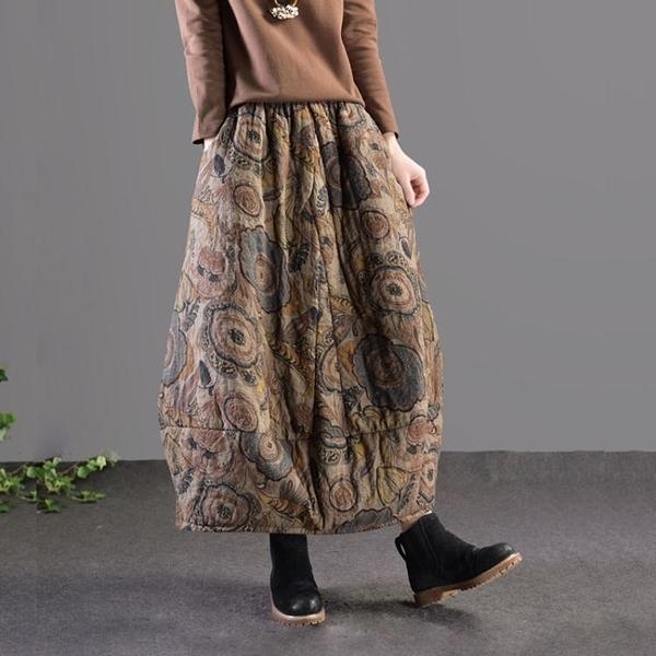 長裙 復古民族風印花寬鬆夾棉加厚棉麻半身裙花苞裙中長裙 萬寶屋