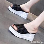 厚底楔形拖鞋女外穿2020年新款夏季時尚厚底增高鬆糕鞋高跟網紅涼拖鞋 青木鋪子