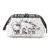 〔小禮堂〕Hello Kitty 硬式支架防水化妝包《黑白》收納包.萬用包.熊熊探險系列 4901610-81341