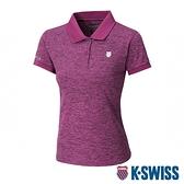 【超取】K-SWISS Small Neon Logo Polo排汗POLO衫-女-莓紅