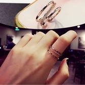 現貨-日韓國韓版鋯石微鑲戒指個性潮流時尚不規則多層開口戒指環食指B16