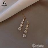 耳環 鋯石耳環女顯臉瘦長蘇耳釘簡約氣質韓國耳墜純銀耳針新款耳飾