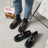 漆皮小皮鞋女英倫風復古單鞋季正韓厚底女鞋學生牛津鞋  魔法鞋櫃
