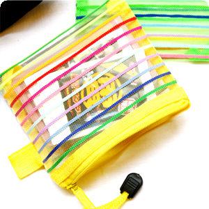 彩色線條透明拉鍊拍立得底片小物雜貨零錢收納袋
