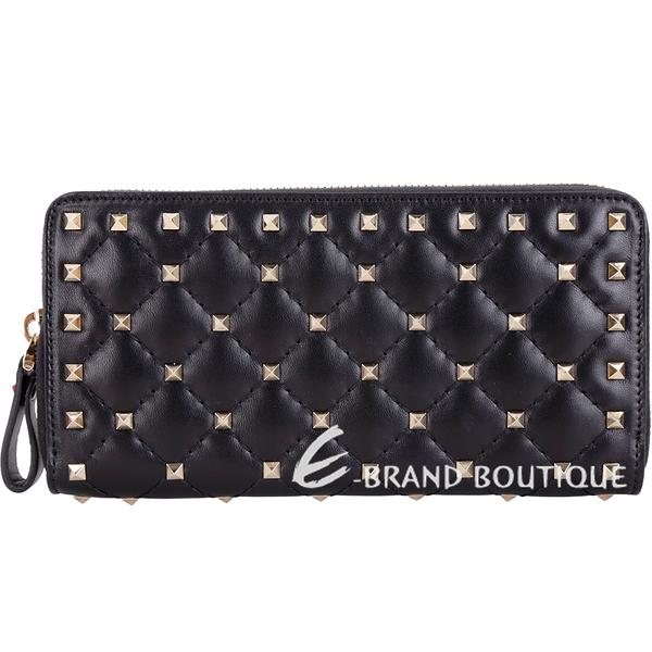 VALENTINO Rockstud Spike 絎縫羊皮菱格鉚釘拉鍊長夾(黑色) 1820364-01